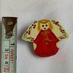 "1.5"" wooden angel Christmas clothing pin vintage"